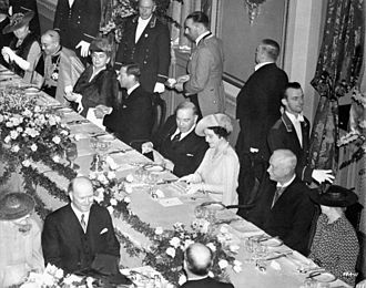 Monarchy in the Canadian provinces - King George VI (fourth from left) and Queen Elizabeth (third from right) with Canadian prime minister William Lyon Mackenzie King (fifth from left) and Lieutenant Governor of Quebec Esioff-Léon Patenaude (second from right) at the Château Frontenac in Quebec City, 1939