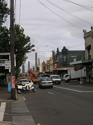 King Street, Newtown, Sydney - south end of King Street, with the iconic brickworks chimneys of Sydney Park