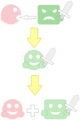 Kirby creates a helper from ability (videogame gameplay).png