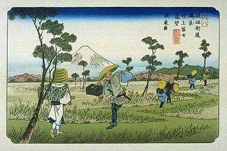 69 Stations of the Nakasendō - Keisai Eisen's print of Kōnosu-shuku (The Sixty-nine Stations of the Kiso Kaidō)