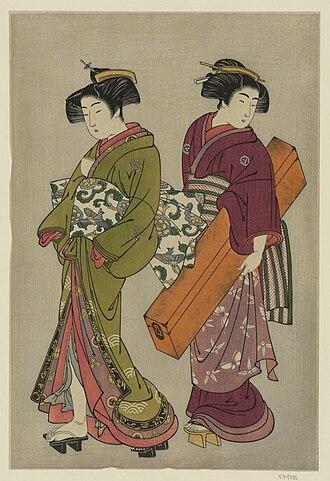 Kitao Shigemasa - Image: Kitao Shigemasa (1777) Geisha and a servant carrying her shamisen box