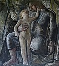Knælende kvinde med barn.Elisa Maria Boglino. Olie på lærred.ca 1928.jpg