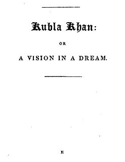 Kubla Khan poem by Samuel Taylor Coleridge