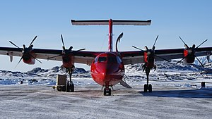 "Kulusuk Airport - Air Greenland de Havilland Canada Dash 7, ""Papikkaaq"", serving the Kulusuk-Nuuk route across the Greenland ice sheet"