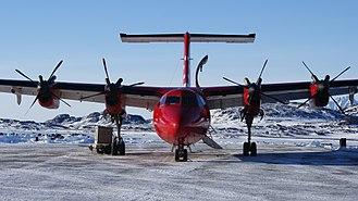 "Kulusuk Airport - Air Greenland de Havilland Canada Dash 7, ""Papikkaaq"", serving the Kulusuk-Nuuk route across the Greenland ice sheet"