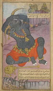 Kumbhakarna yawns as he is roused from sleep;.jpg