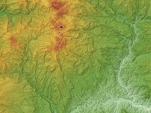 Mount Kusatsu-Shirane - Image: Kusatsu Shirane Volcano Relief Map, SRTM 1