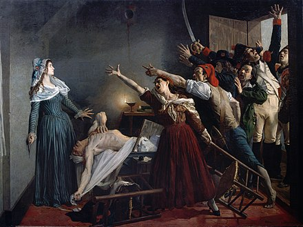 The assassination of Jean-Paul Marat by Girondist sympathizer Charlotte Corday on 13 July 1793 L'Assassinat de Marat.jpg