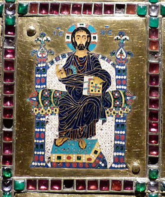 Limburg Staurotheke - Close up of Christ Pantocrator on the middle enamel panel of the lid of the Limburg Staurotheke