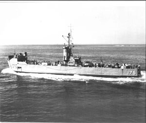 USS Oceanside (LSM-175) - USS Oceanside (LSM-175) at sea, date and place unknown.
