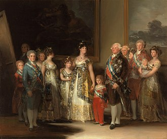 Maria Luisa, Duchess of Lucca - The family of Charles IV by Francisco de Goya. Maria Luisa is beside her husband with her son in her arms on the right hand side of the painting