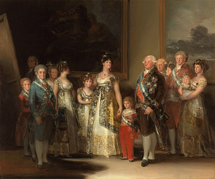 "Charles IV of Spain and His Family, 1800-1801. Although Goya had painted many portraits of the House of Bourbon, they did not consider The Third of May 1808 as ""suitable subject matter"" for the royal collection. La familia de Carlos IV, por Francisco de Goya.jpg"