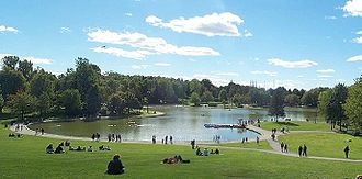 Landmarks of Montreal - Beaver Lake (Lac aux castors), Mount Royal.