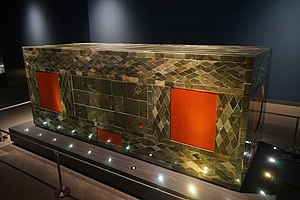 Xuzhou - Lacquered Wood Coffin Inlaid with Jade, unearthed from the Han Dynasty king's tomb at Shizishan hill in 1995.
