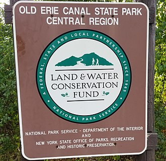 Land and Water Conservation Fund - Land and Water Conservation Fund sign at the Old Erie Canal State Historic Park, DeWitt, New York