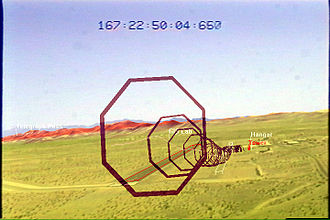 Augmented reality - LandForm video map overlay marking runways, road, and buildings during 1999 helicopter flight test
