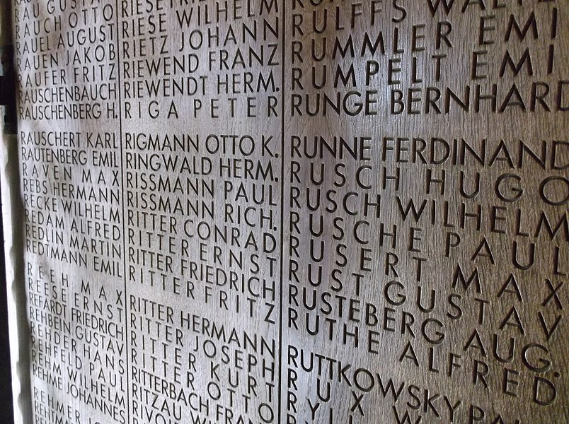 A image of a section of the memorial to the massacre of the Innocents at the Langemark German Cemetery in Belgium.