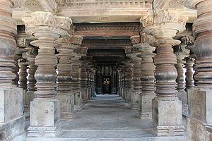 Harihareshwara Temple - Open hall with lathe turned pillars of Harihareshwara temple (1224 CE) in Hoysala architectural style