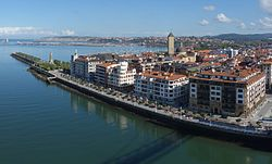 Getxo from Vizcaya Bridge with its neighborhood of Las Arenas in the foreground