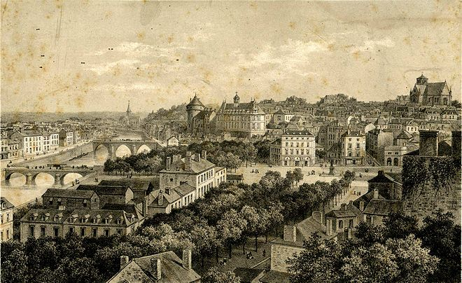 Laval as seen from the railway viaduct in the 19th century, with the place du 11-Novembre (then place de l'hotel-de-ville), the Mayenne river, the bridges, the castle and the cathedral. Laval - Vue generale prise du Viaduc.jpg
