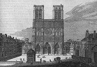 Le parvis et la façade de Notre-Dame de Paris au XVIIIe siècle, par Jean-Bapstiste Scotin (1678-?).jpeg