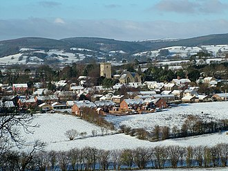 Leintwardine - The village from Church Hill, in the snow.