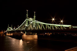 Liberty Bridge, Budapest by night.jpg