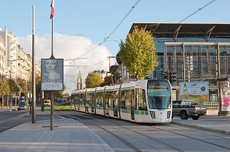 RATP Group - RATP tram on tramway line T3a at Porte de Versailles.