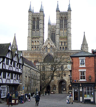 Lincoln Cathedral - Image: Lincoln Cathedral from Castle Hill (crop)