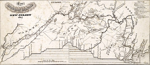 A map of the 107-mile long Morris Canal across northern New Jersey Line of the Morris Canal, New Jersey, 1827.jpg