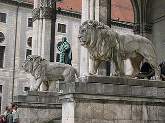 Munich - Lion sculptures by Wilhelm von Rümann at the Feldherrnhalle