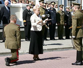 Dalia Grybauskaitė - Grybauskaitė inaugurating Arvydas Pocius as the commander of the Lithuanian Armed Forces on 28 July 2009.