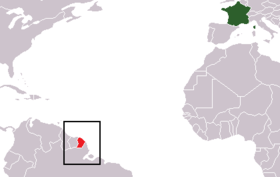 Map of France highlighting the Region of Guyane