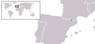 A map showing the location of Andorra