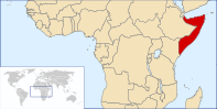 A map showing the location of Somalia