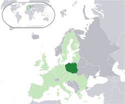 પોલેંડ નું સ્થાન  (dark green) – in Europe  (light green & dark grey) – in the European Union  (light green)  –  [Legend]