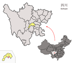 Location of Qingshen County (red) within Meishan City (yellow) and Sichuan
