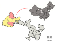 Location of Subei within Gansu (China).png