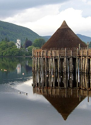 Architecture of Scotland in the Prehistoric era - Reconstructed crannog on Loch Tay