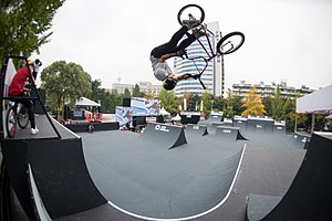 Logan Martin competing in BMX freestyle at the first UCI Urban Cycling World Championships in Chengdu in 2017 Logan Martin Chengdu 2017.jpg