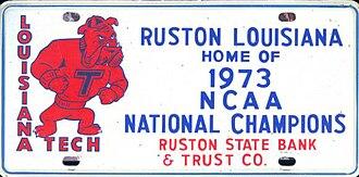 Louisiana Tech Bulldogs football - 1973 National Champions license plate