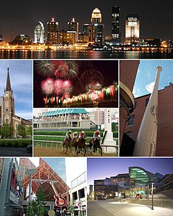 From top: The Louisville downtown skyline at night, The Cathedral of the Assumption, Louisville fireworks at Kentucky Derby Festival, کنتاکی دربی, Louisville Slugger Museum & Factory, Fourth Street Live! in Downtown, The Kentucky Center for the Performing Arts.