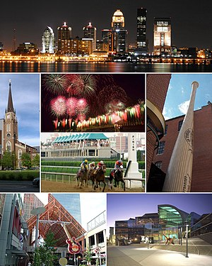 Louisville, Kentucky - From top: Louisville downtown skyline at night, Cathedral of the Assumption, Thunder Over Louisville fireworks during the Kentucky Derby Festival, Kentucky Derby, Louisville Slugger Museum & Factory, Fourth Street Live!, The Kentucky Center for the Performing Arts
