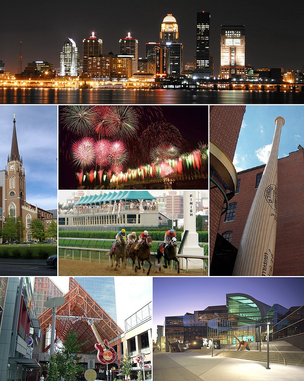 From top: Louisville downtown skyline at night, Cathedral of the Assumption, Thunder Over Louisville fireworks during the Kentucky Derby Festival, Kentucky Derby, Louisville Slugger Museum & Factory, Fourth Street Live!, The Kentucky Center for the Performing Arts