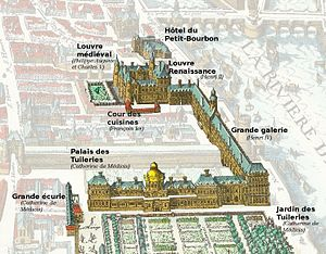 Tuileries Palace - The old medieval Louvre (background) and the Tuileries (foreground) linked by the Grande Galerie along the River Seine, in 1615