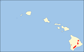 Hawaiʻi ʻakepa - Image: Loxops coccineus range map