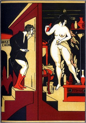 The Golden Ass -  Lucius spies Milo's wife transforming into a bird. Illustration by Jean de Bosschère