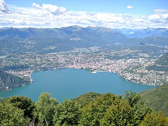 Lugano - Lugano from Mt. Sighignola, showing the crescent of building around the bay