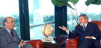 Luiz Inácio Lula da Silva - Lula and the mayor of São Paulo, José Serra, meet in 2004. Lula defeated Serra in the 2002 presidential elections.