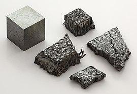 Lutetium sublimed dendritic and 1cm3 cube.jpg